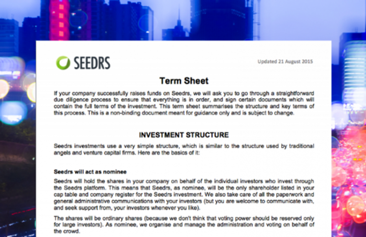 Equity crowdfunding term sheet