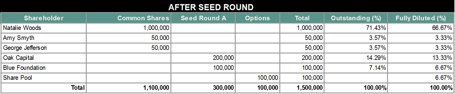 shares after seed round
